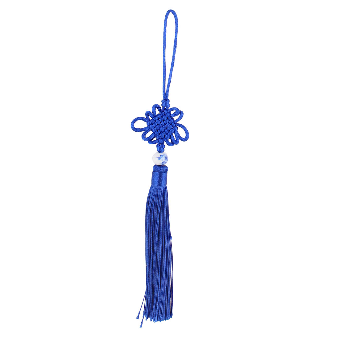 Festival Home Car Handmade Bead Tassel Knitted Chinese Knot Ornament Royal Blue