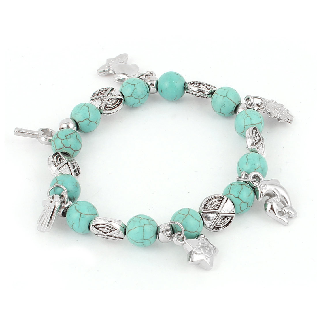 Hand Dolphin Key Star Dangled Turquoise Stone Beads Elastic Bracelet Bangle