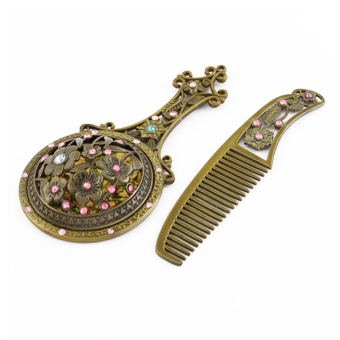 Lady Retro Style Flower Shaped Rhinestone Inlaid Makeup Mirror Comb Bronze Tone