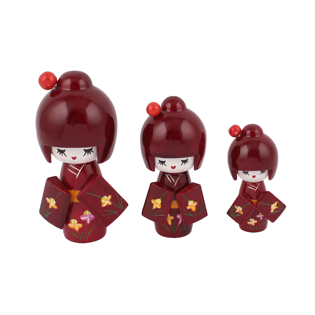 3 in 1 Handmade Floral Detail Kimono Wooden Craft Japanese Kokeshi Doll Red