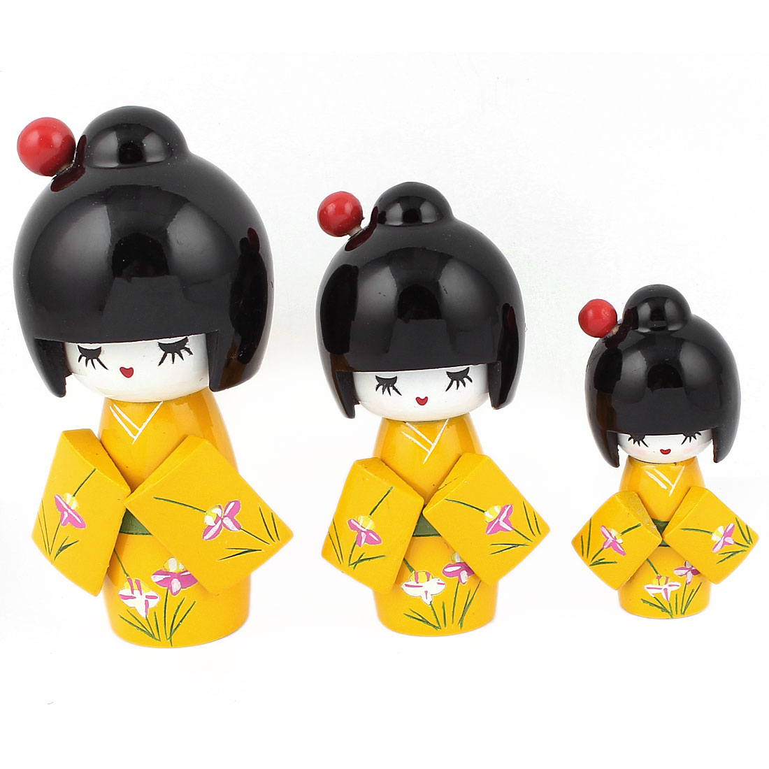3 in 1 Handmade Floral Detail Kimono Wooden Craft Japanese Kokeshi Doll Yellow