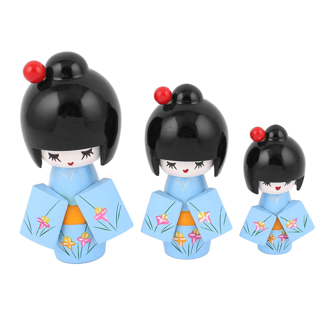 3 in 1 Handmade Floral Detail Kimono Wooden Craft Japanese Kokeshi Doll Blue