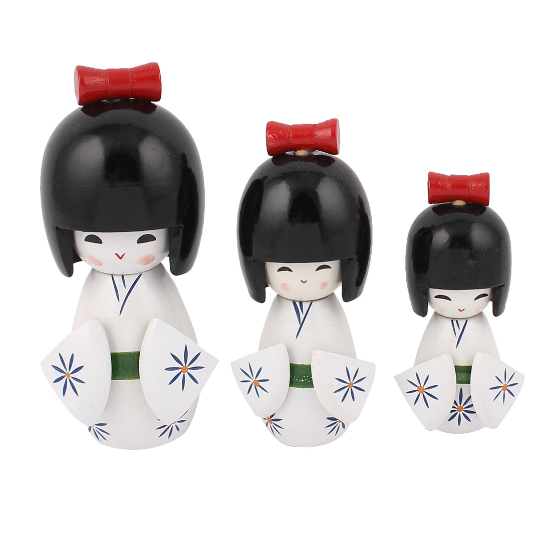 3 in 1 Handmade Flower Decor Kimono Wooden Craft Japanese Kokeshi Doll White