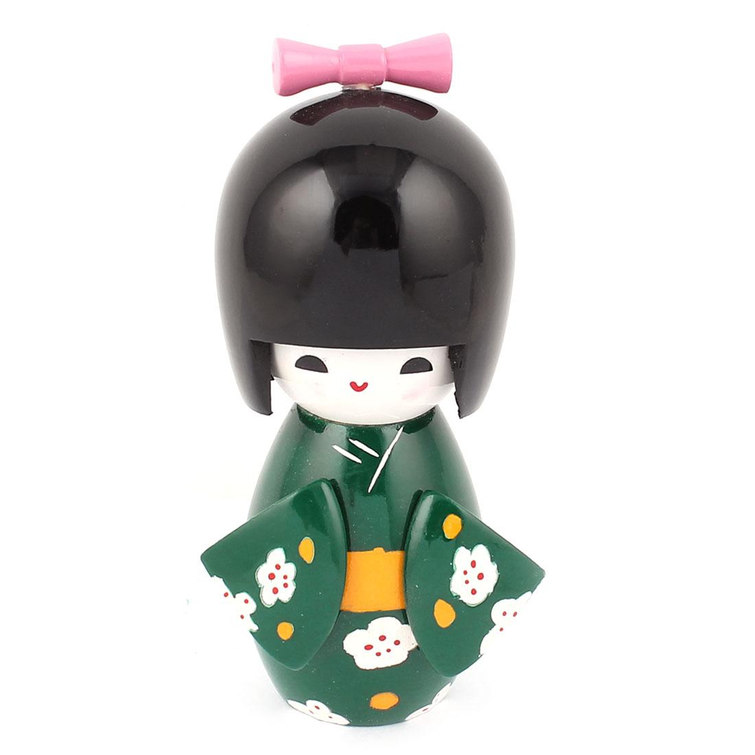 Manual Floral Decor Kimono Wooden Craft Gift Japanese Kokeshi Doll Green