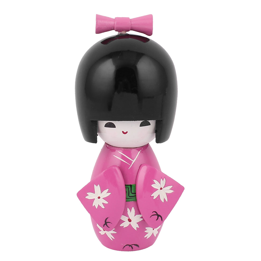 Manual Flower Decor Kimono Wooden Craft Gift Japanese Kokeshi Doll Fuchsia
