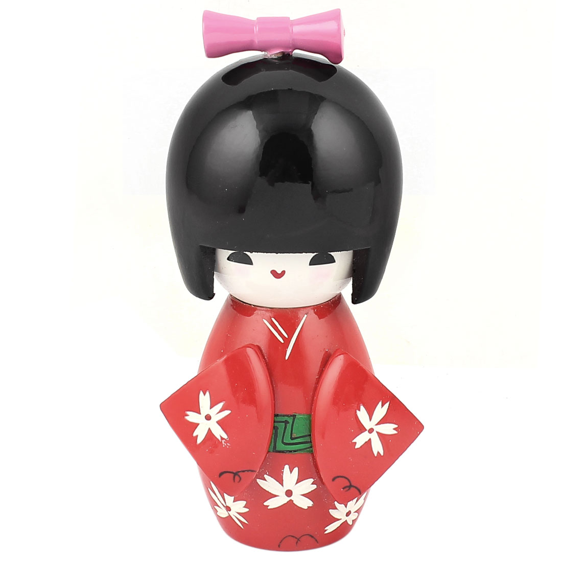 Manual Flower Decor Kimono Wooden Craft Gift Japanese Kokeshi Doll Red