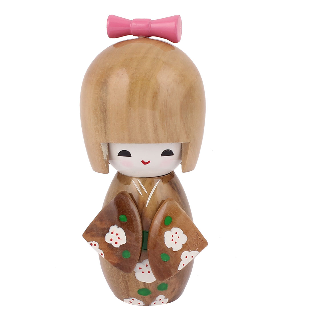 Manual Floral Decor Kimono Wooden Craft Gift Japanese Kokeshi Doll Brown