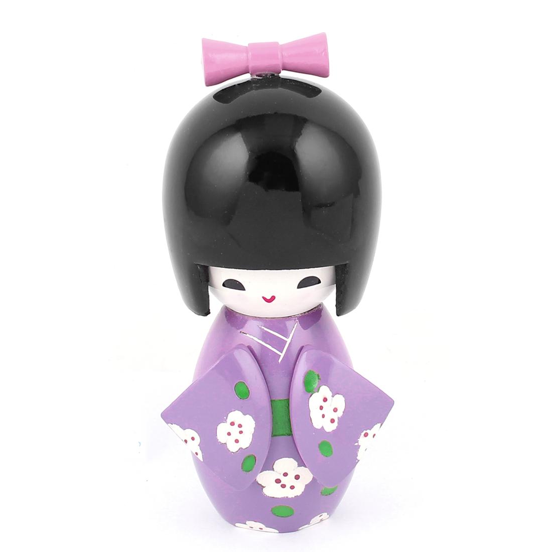 Manual Floral Decor Kimono Wooden Craft Gift Japanese Kokeshi Doll Purple