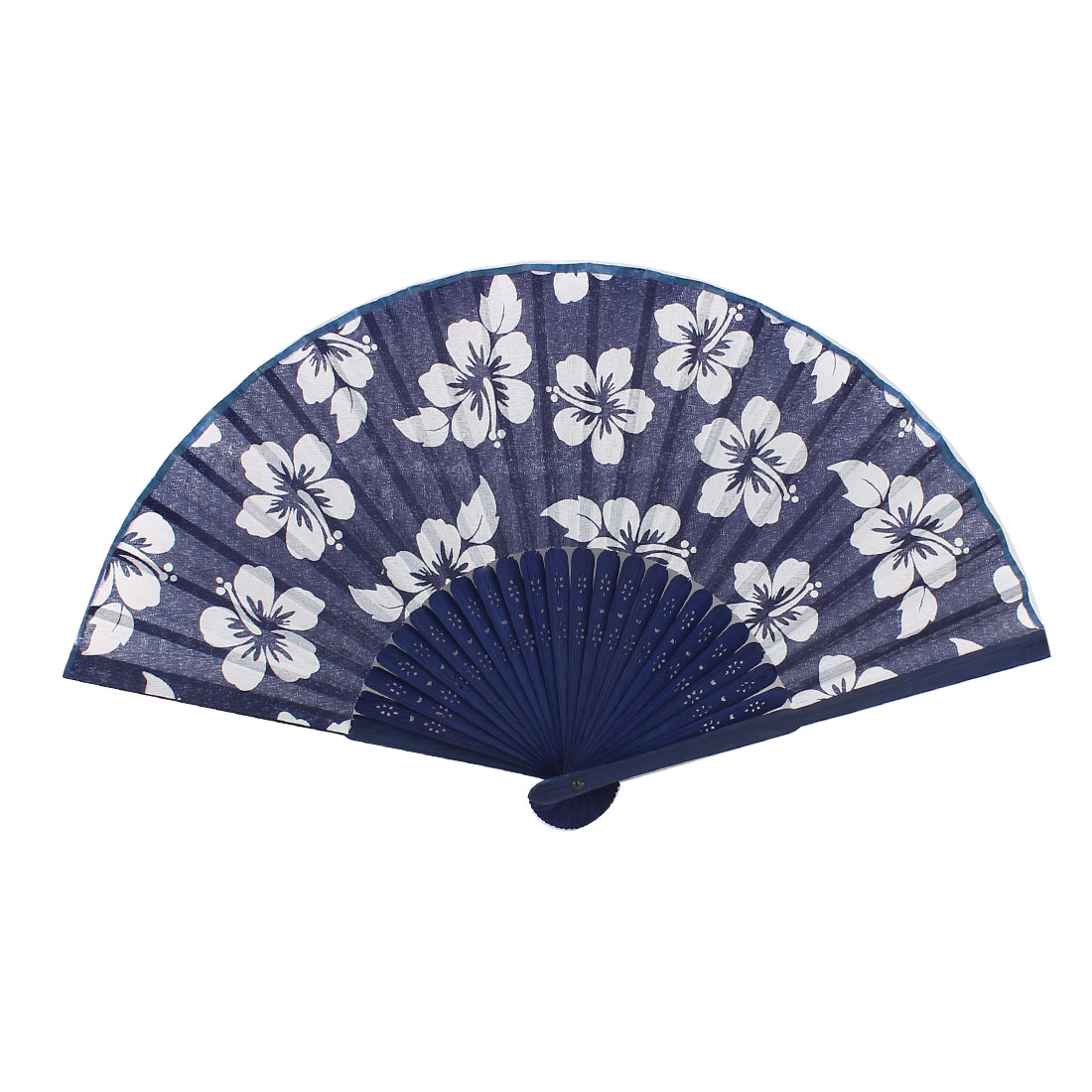 Flower Pattern Hollow Out Style Bamboo Frame Fabric Cover Folding Hand Fan Blue