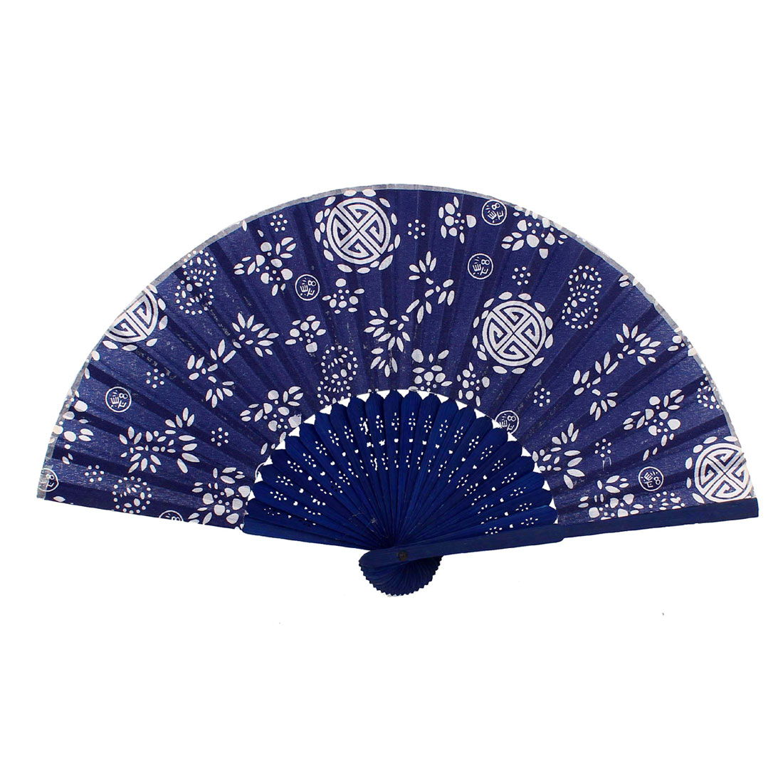 Japanese Style Flower Pattern Bamboo Frame Fabric Cover Foldable Hand Fan Blue
