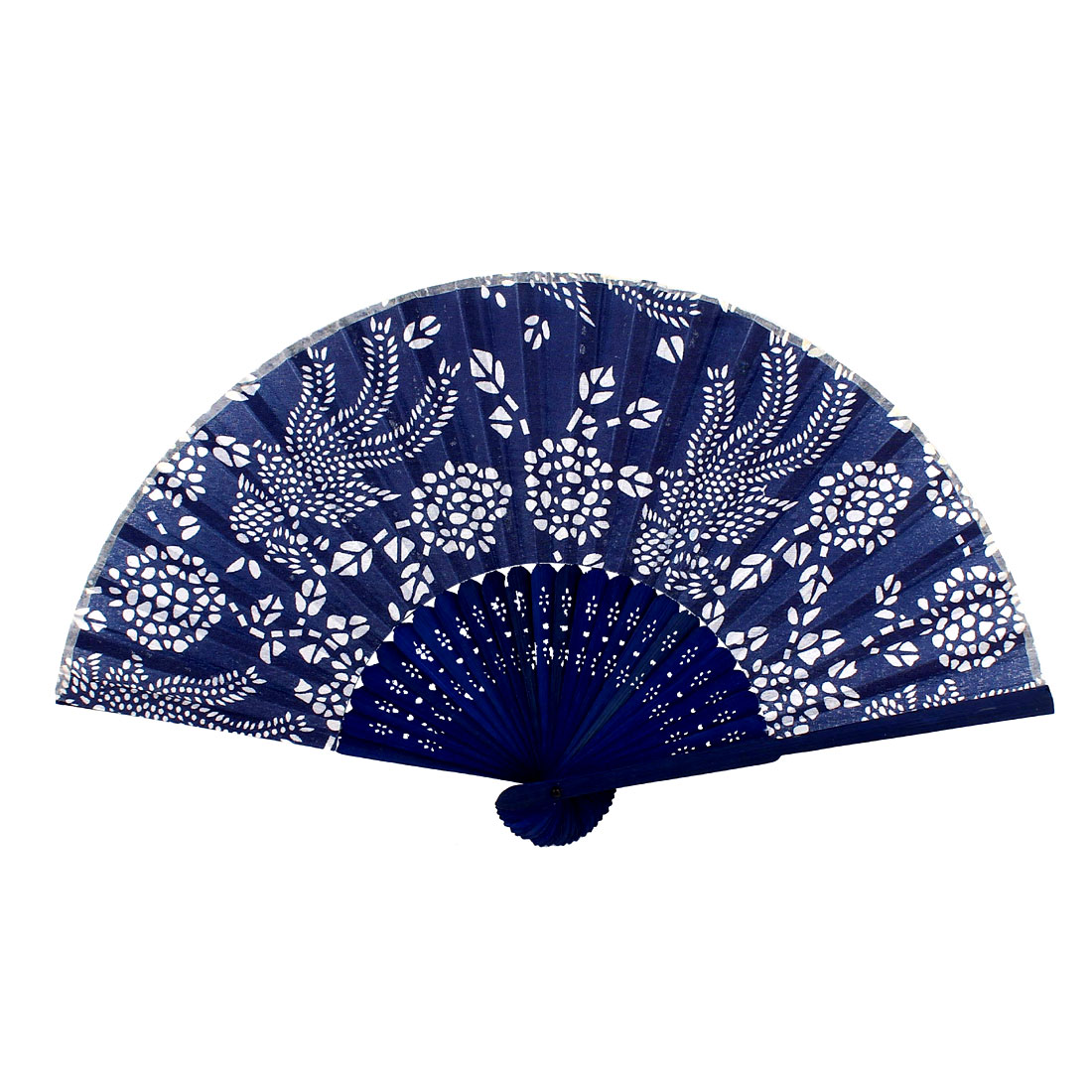 Wedding Party Flower Pattern Hollow Out Bamboo Rib Fabric Folding Hand Fan Blue