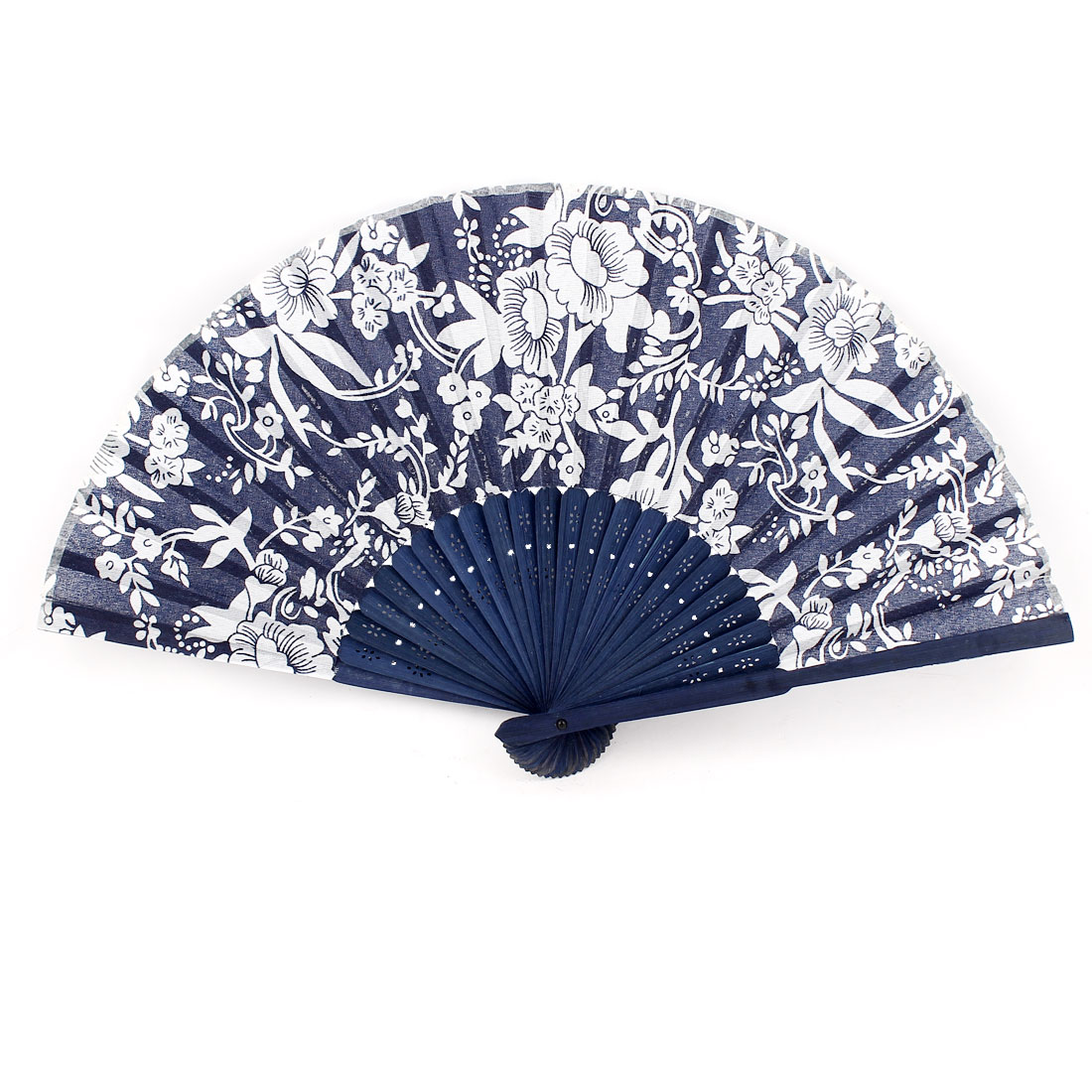 Flower Pattern Hollow Out Design Bamboo Frame Fabric Cover Folding Hand Fan Blue