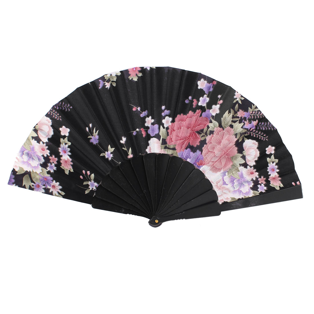 Wedding Party Flower Pattern Plastic Frame Fabric Cover Foldable Hand Fan Black