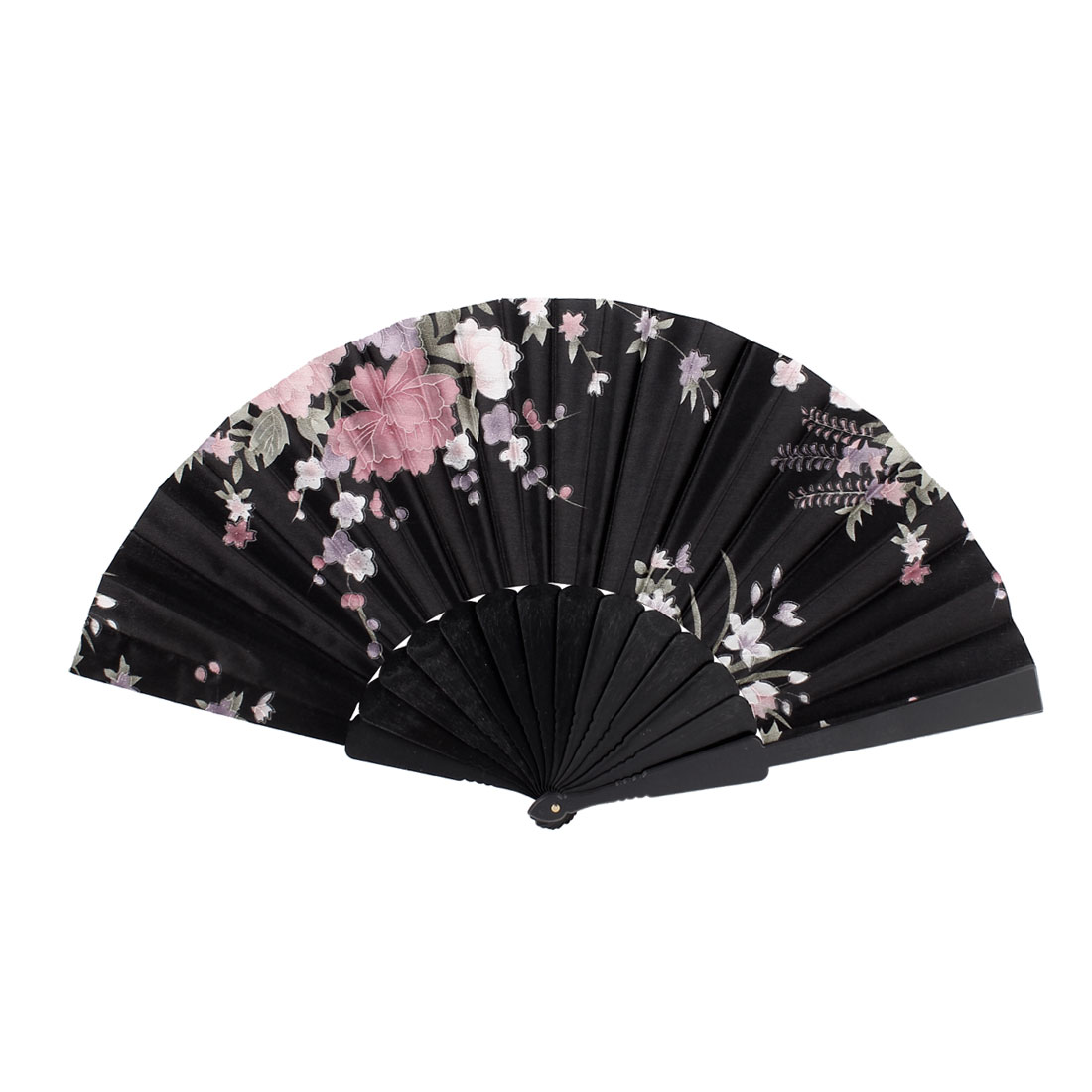 Wedding Party Floral Pattern Plastic Frame Fabric Cover Foldable Hand Fan Black