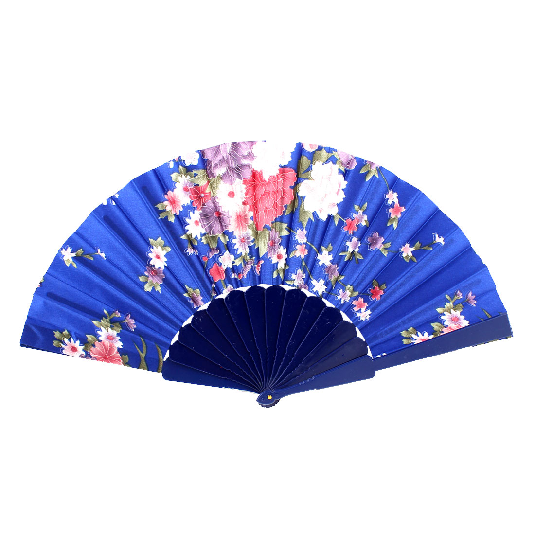 Wedding Party Floral Pattern Plastic Frame Fabric Cover Folding Hand Fan Purple