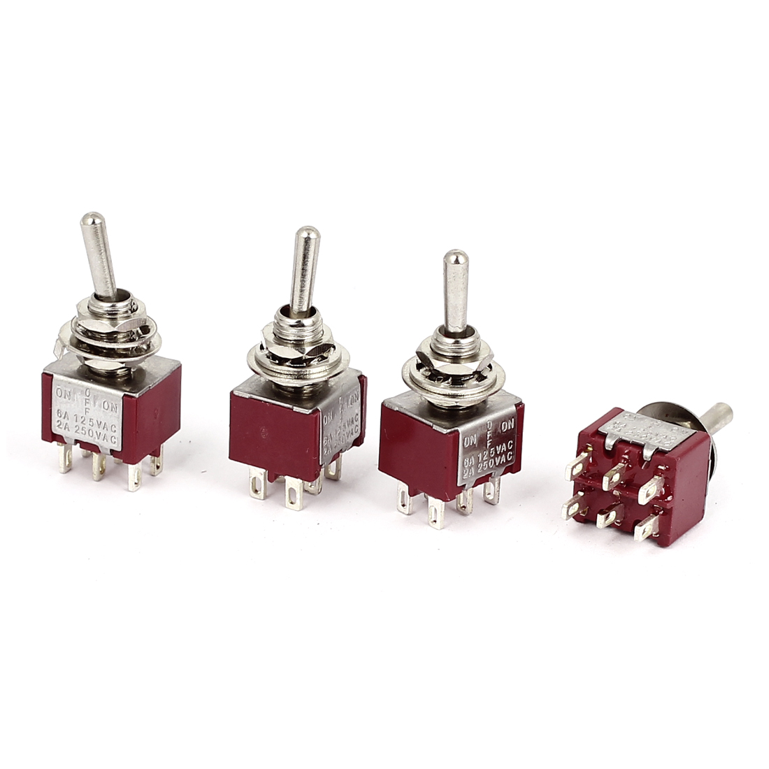AC125V/250V 6A/2A Mini 6 Pins DPDT ON-OFF-ON Latching Toggle Switches 4 Pcs