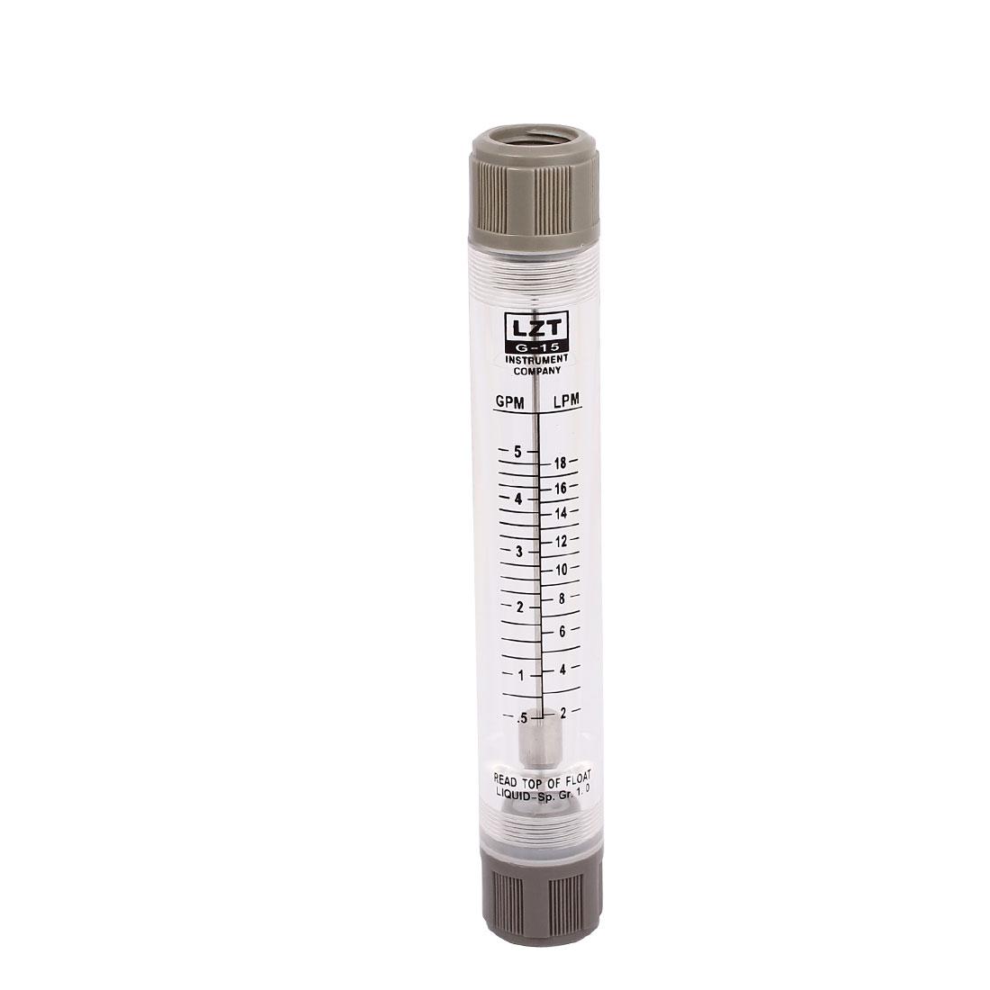 LZM-15G 0.5-5GPM Tube Type Flowmeter Flow Meter Rotameter for Gas Liquid