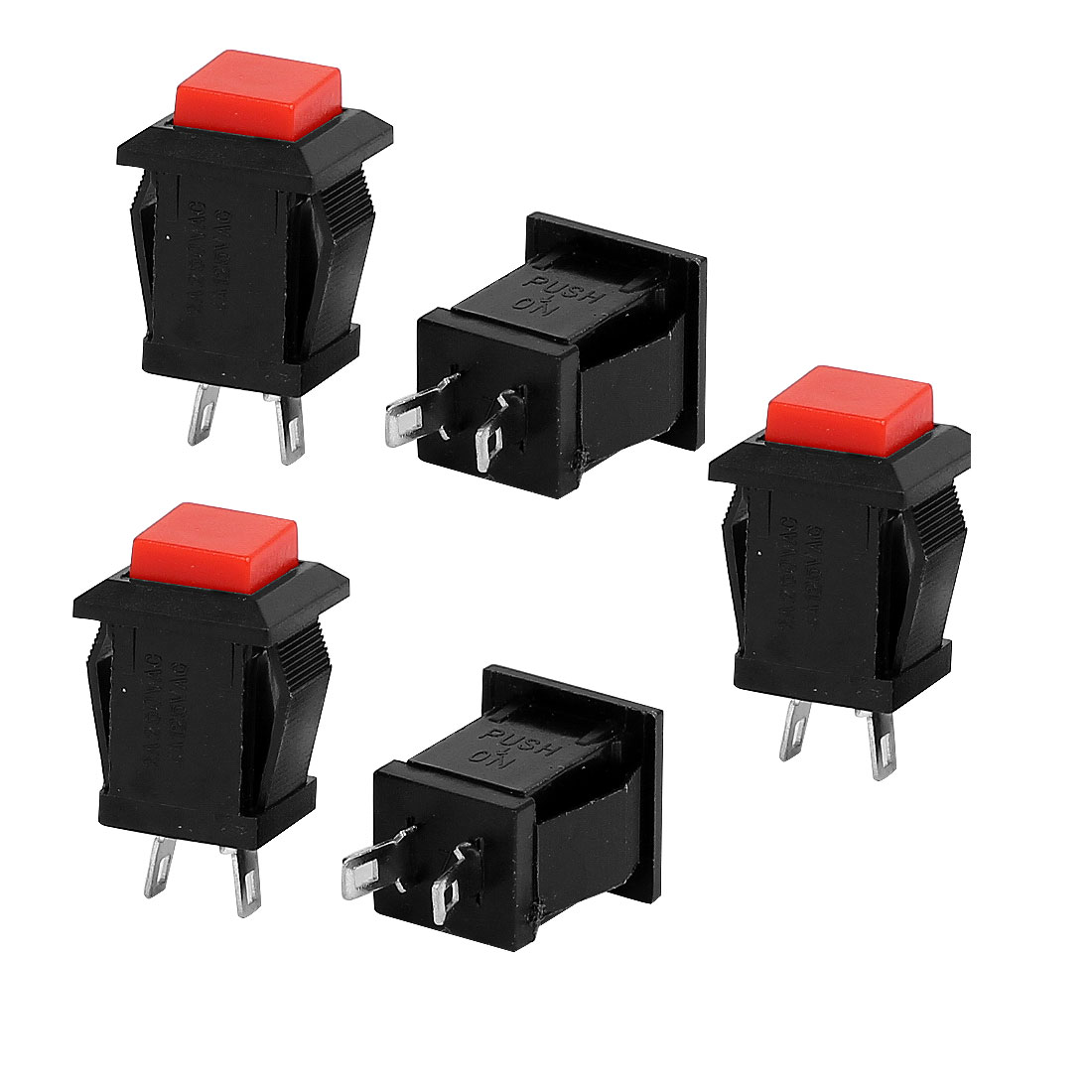 5 Pcs SPST Momentary Red Square Push Button Switch AC 125V/250V 4A/2A