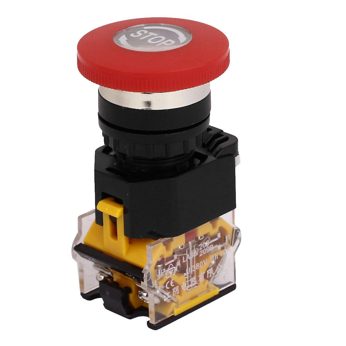 40mm Mushroom Cap 1NC 1NO Latching Emergency Stop Push Button Switch 380V 10A