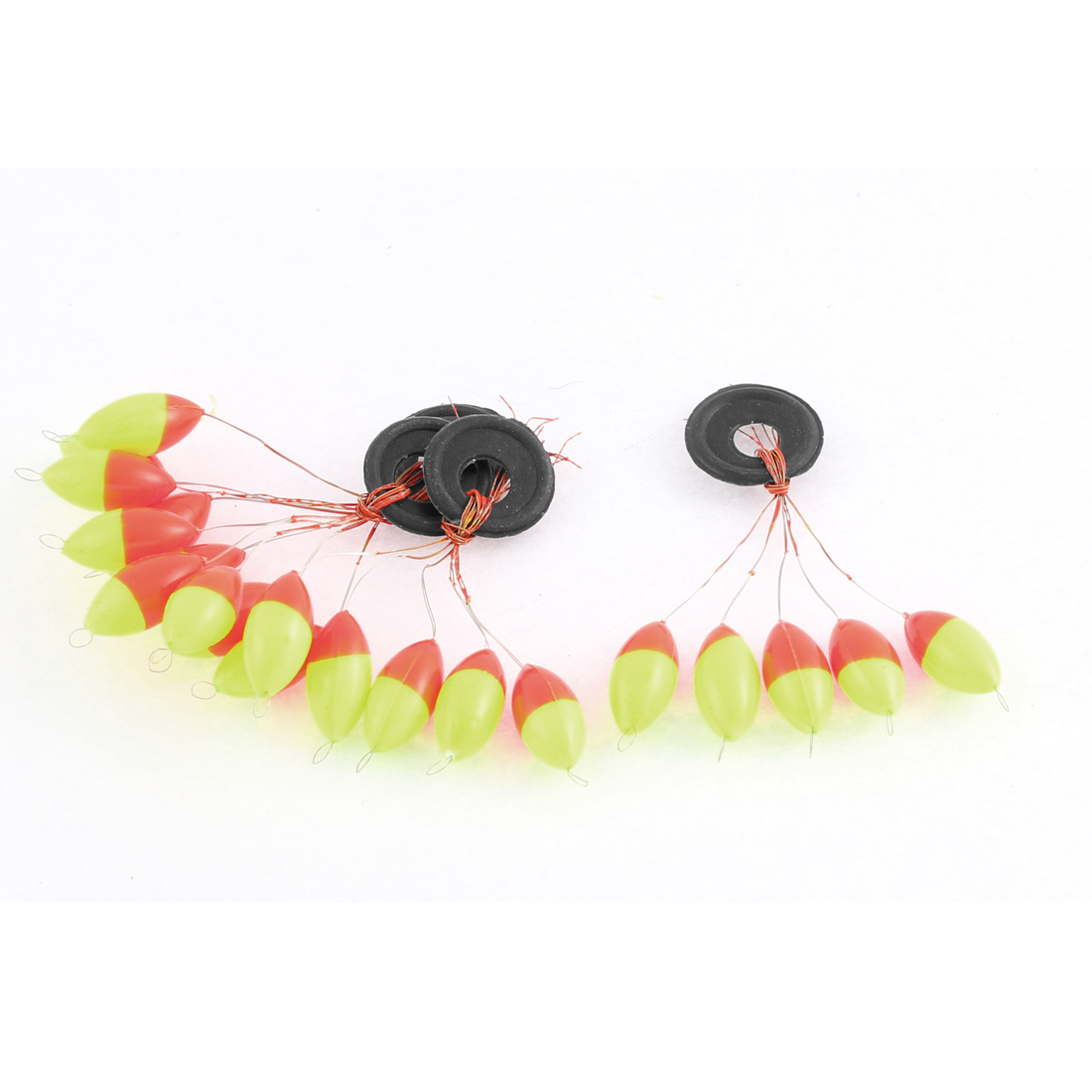 4 Pcs Yellow Red Olive Shape Plastic Fish Fishing Bobber