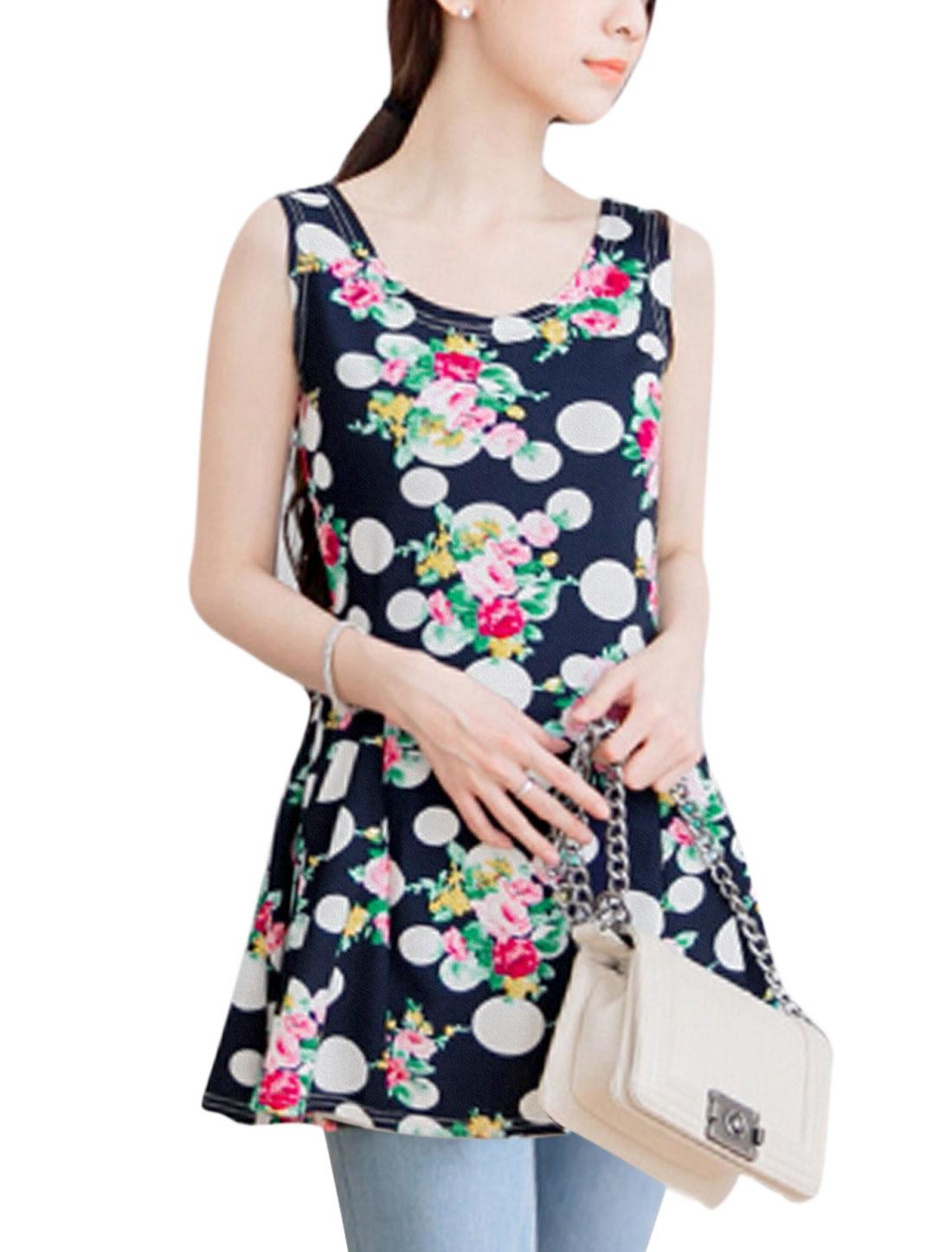 Woman Floral Polka Dots Prints Slipover Tunic Peplum Top Navy Blues M