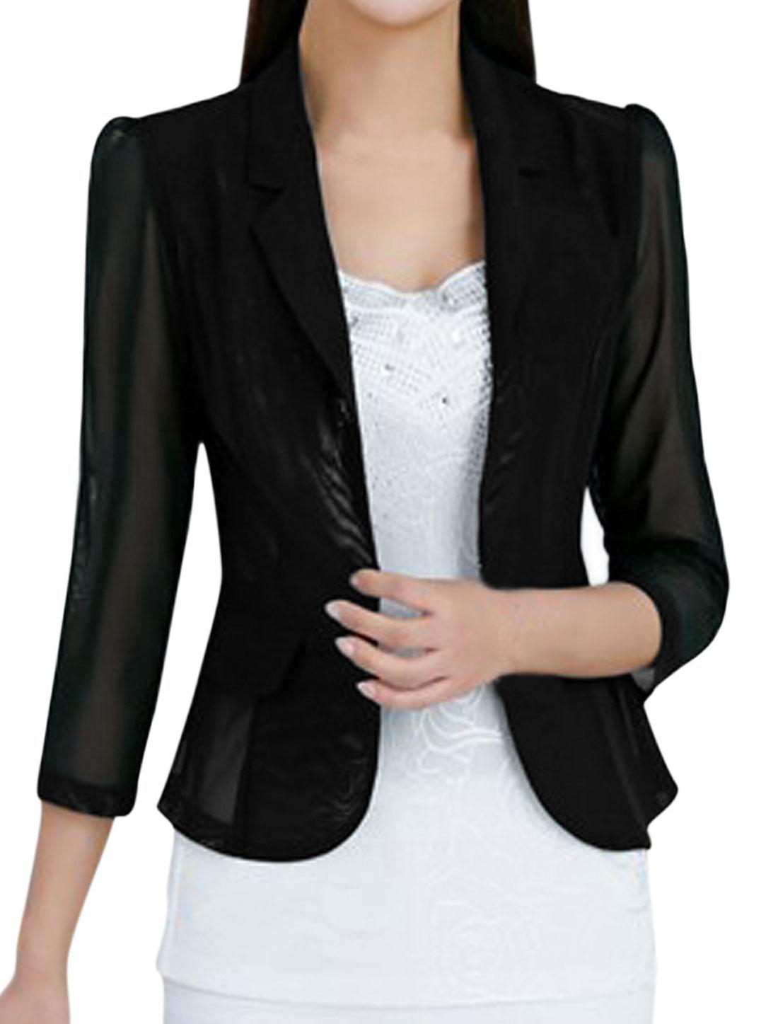 Ladies 3/4 Sleeve Notched Lapel Semi Sheer Casual Blazer Black M