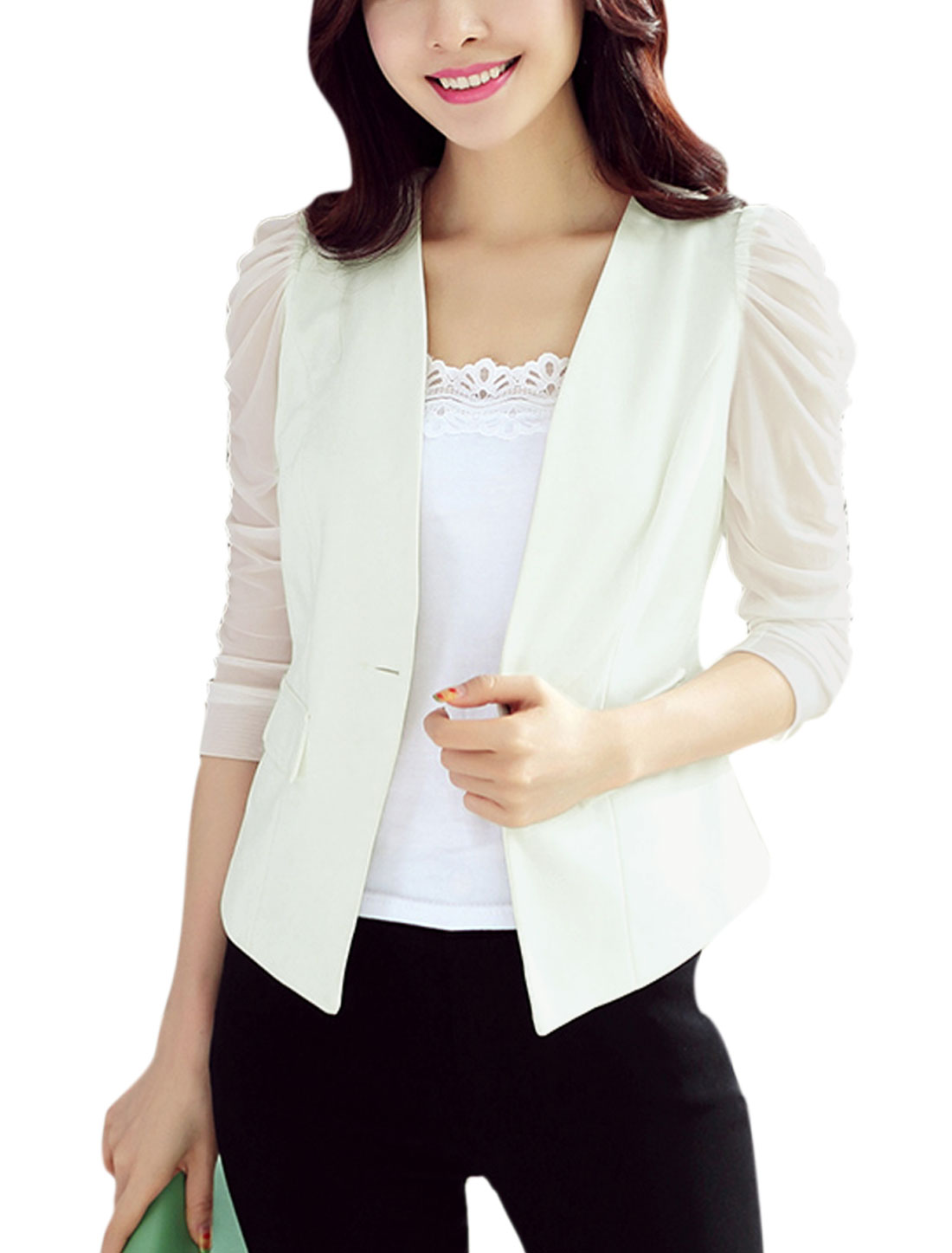 Woman Mesh Panel 3/4 Ruched Sleeves Mock Flap Pockets Blazer White M