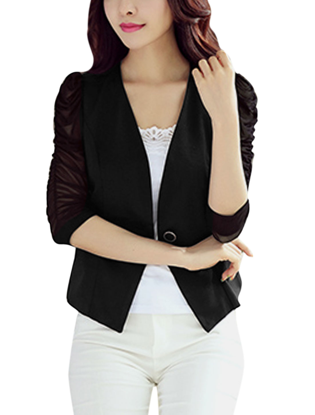 Woman Mesh Panel 3/4 Ruched Sleeves One Button Closure Blazer Black M