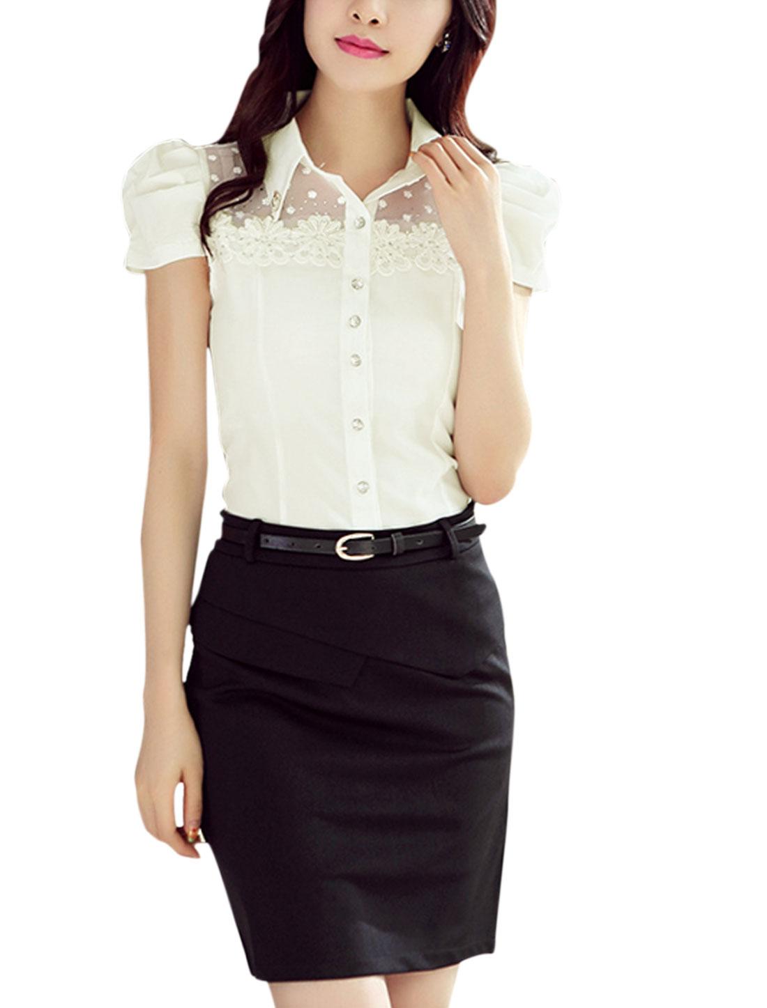Women Rhinestones Decor Lace Panel Point Collar Shirt White L