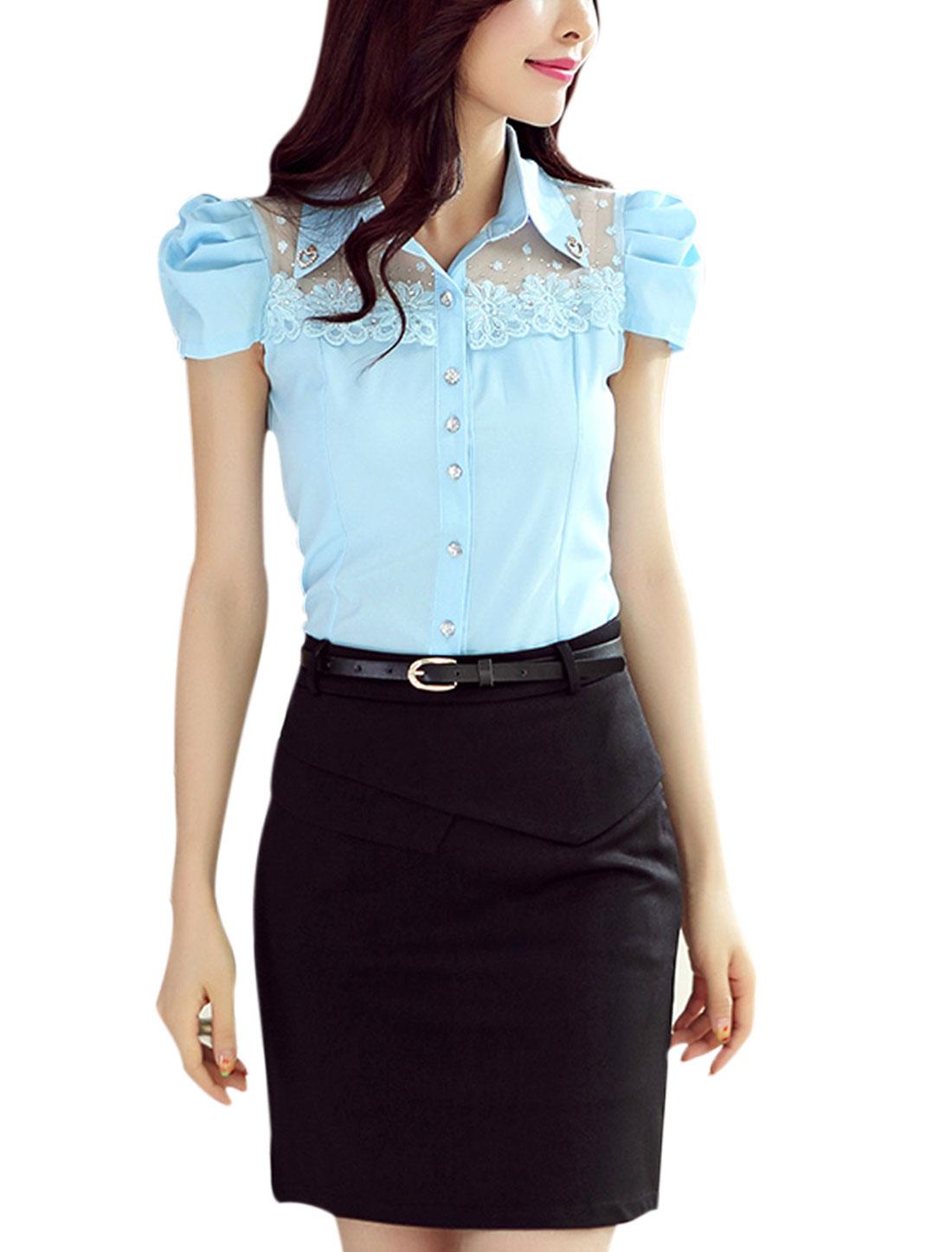 Women Rhinestones Embellished Lace Panel Short Puff Sleeves Shirt Light Blue L