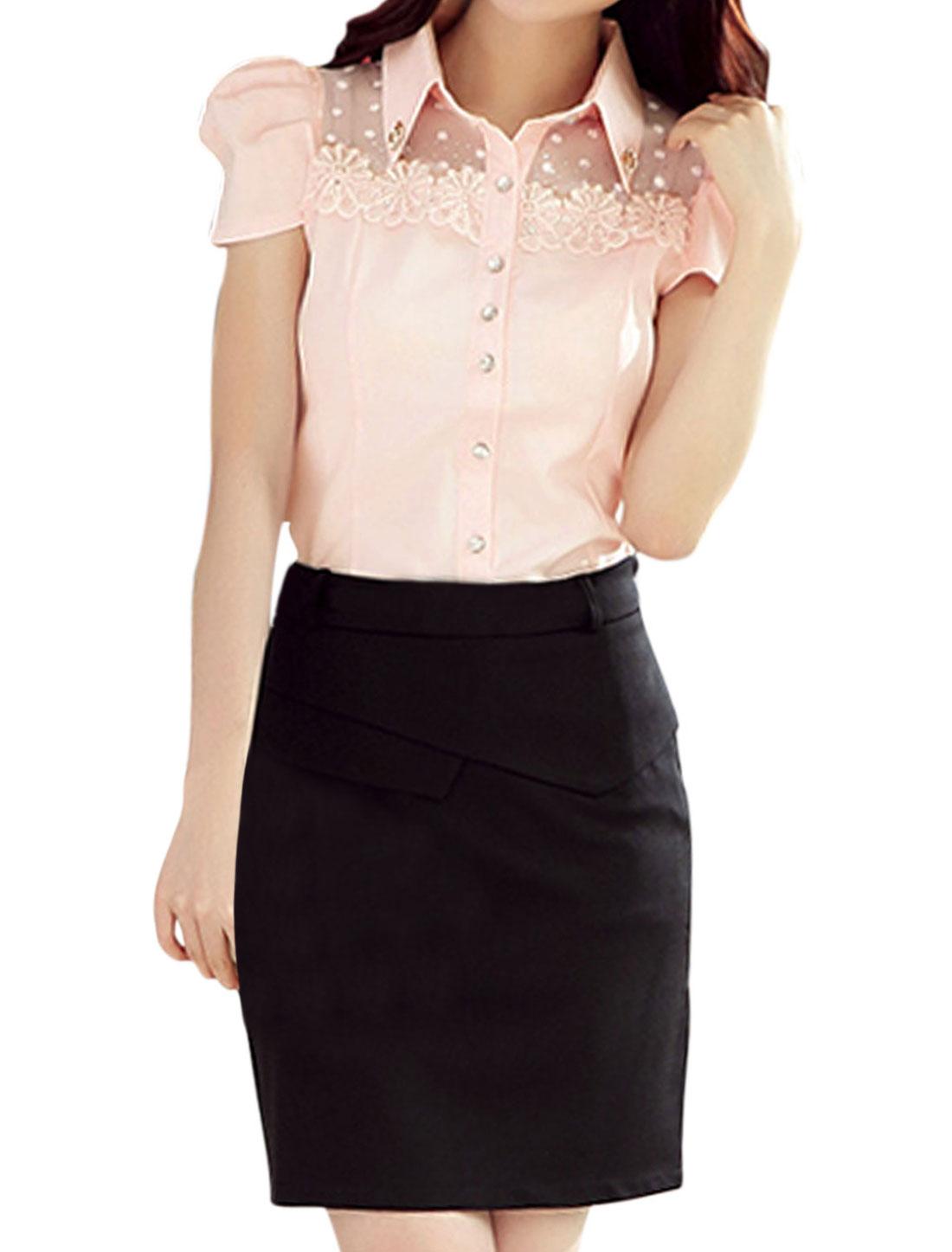 Women Rhinestones Embellished Lace Panel Button Down Shirt Light Pink L