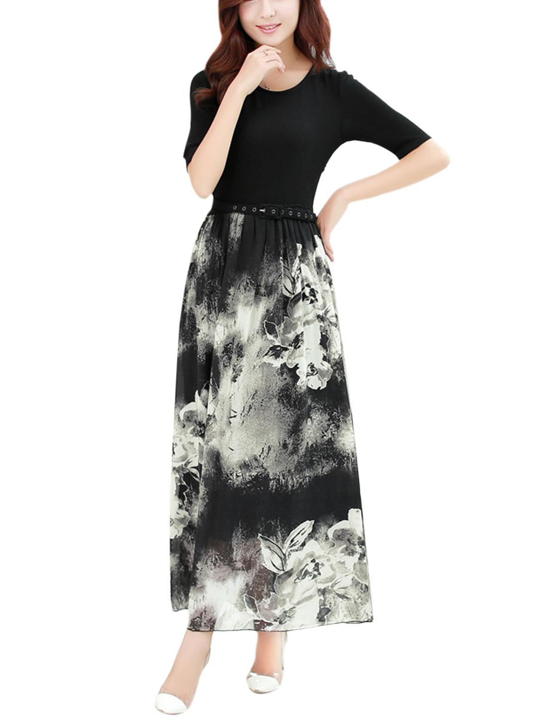 Women Half Length Sleeves Floral Prints Belted Chiffon Panel Maxi Dress Black M