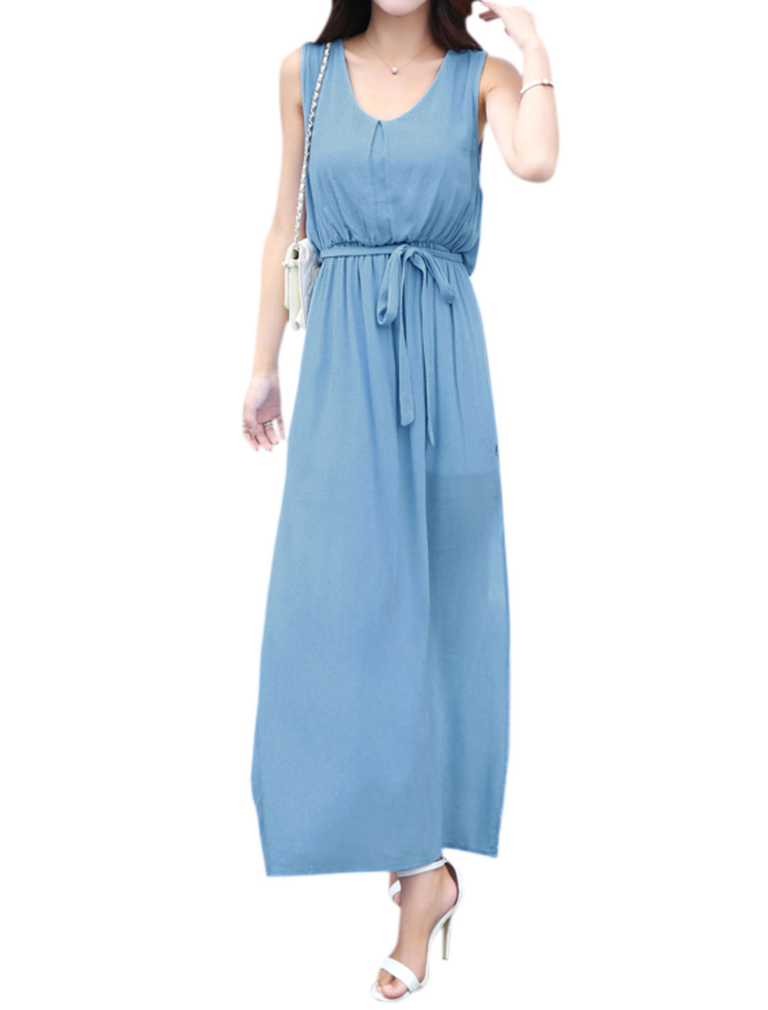Woman Scoop Neck Sleeveless Split Sides Maxi Dress w Waist String Blue M