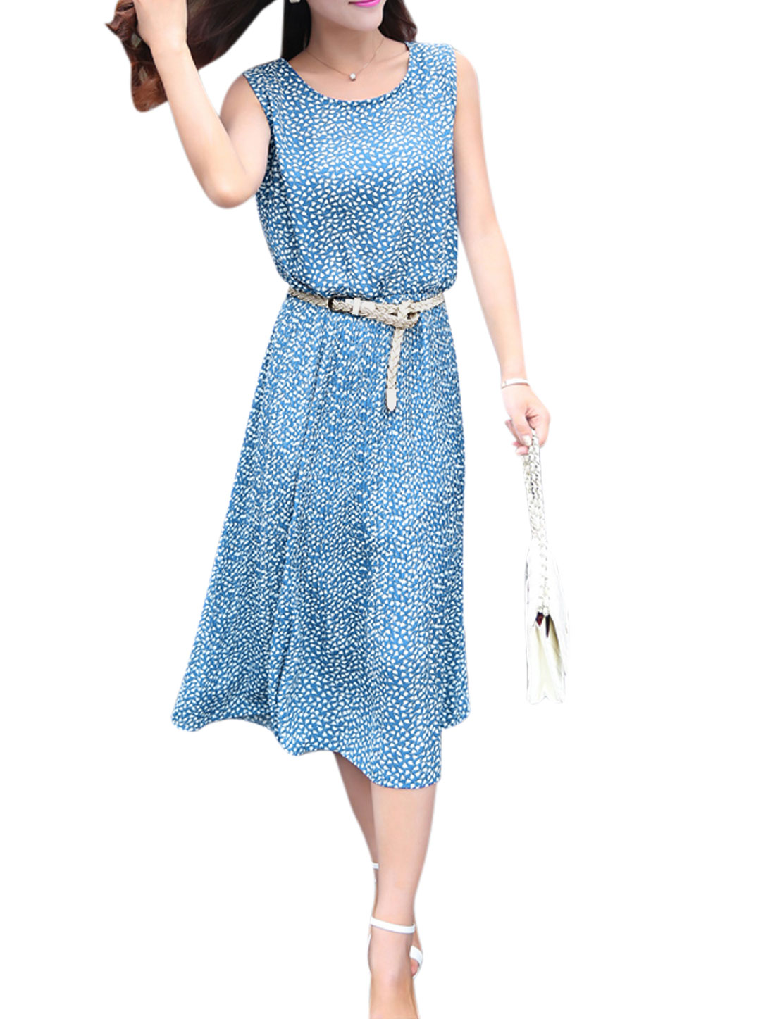 Women Floral Prints Sleeveless Belted A Line Dress Blue M