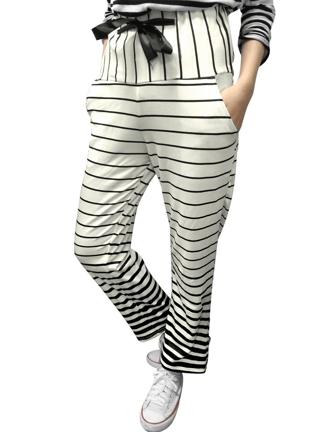 Women Stripes Elastic Drawstring Waist Slant Pockets Casual Pants White S