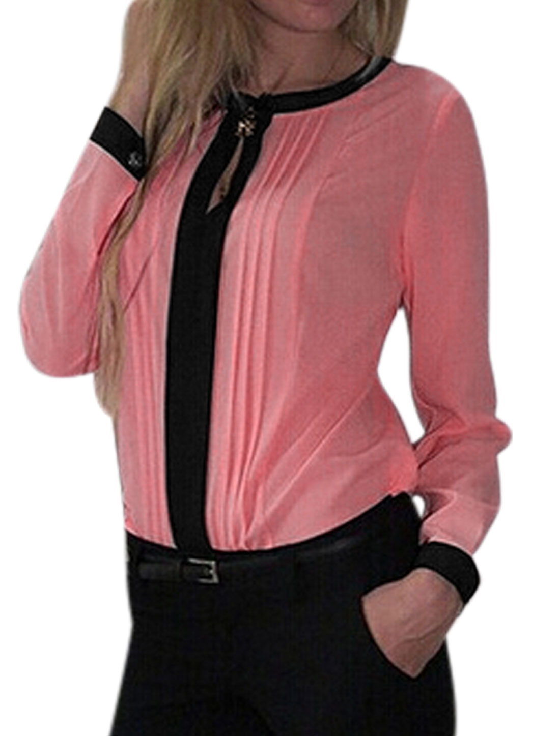 Women Long Sleeve Round Neck Keyhole Front Pleated Shirt Blouse Pink M