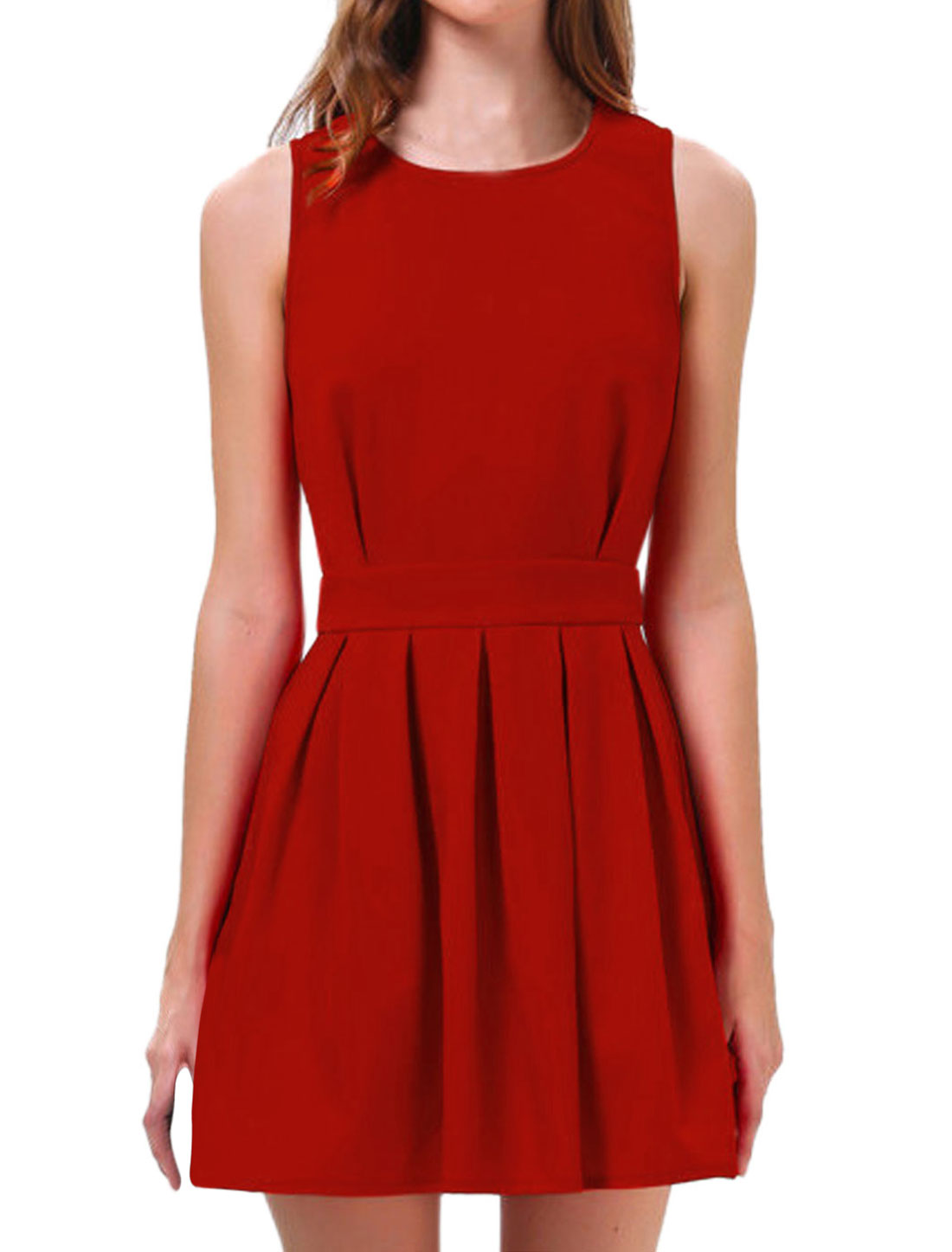 Woman Round Neck Sleeveless Scalloped Back Unlined A Line Dress Red M