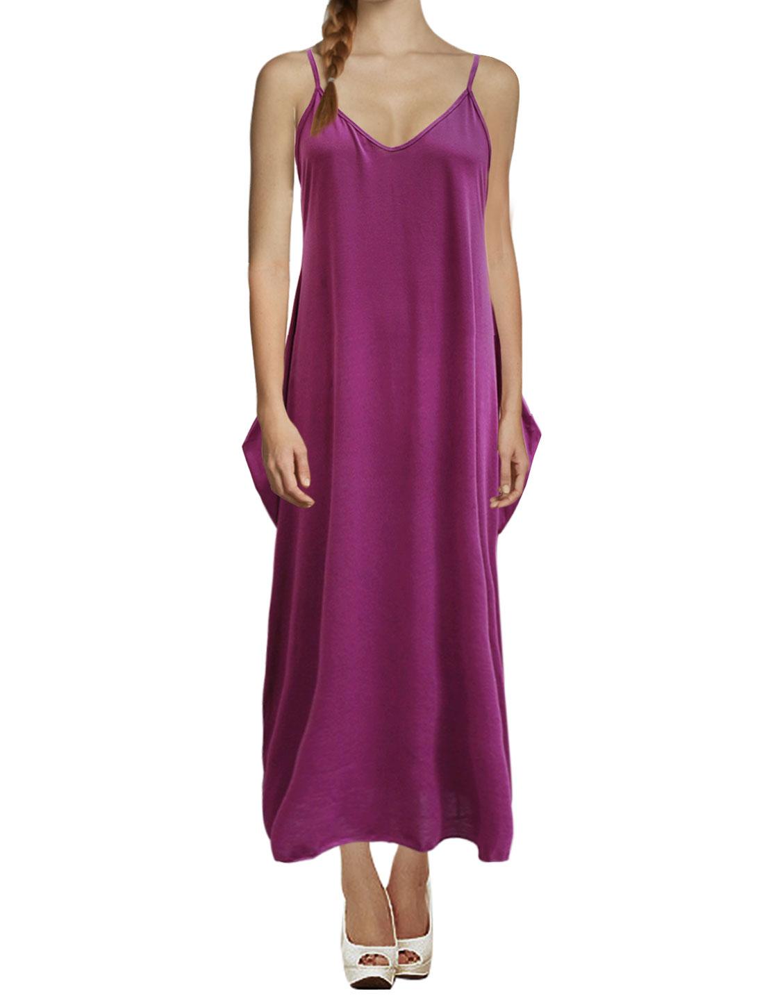 Women Deep V Neck Spaghetti Straps Unlined Cami Maxi Dress Purple L