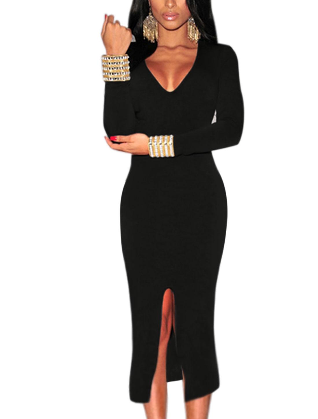 Women Deep V Neck Long Sleeves Split Front Unlined Bodycon Dress Black L