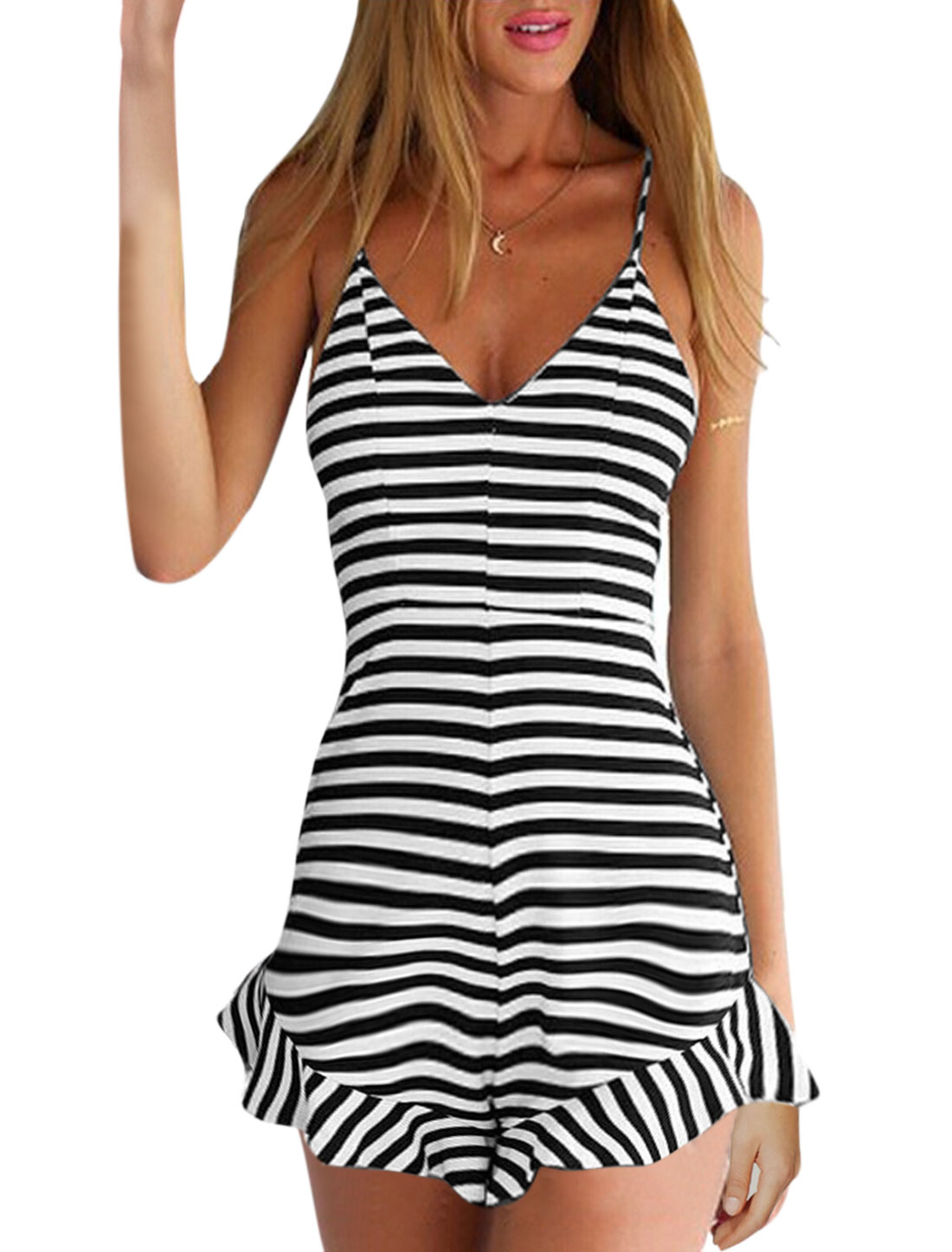 Woman Stripes Deep V Neck Spaghetti Straps Flouncing Hem Romper Black White L
