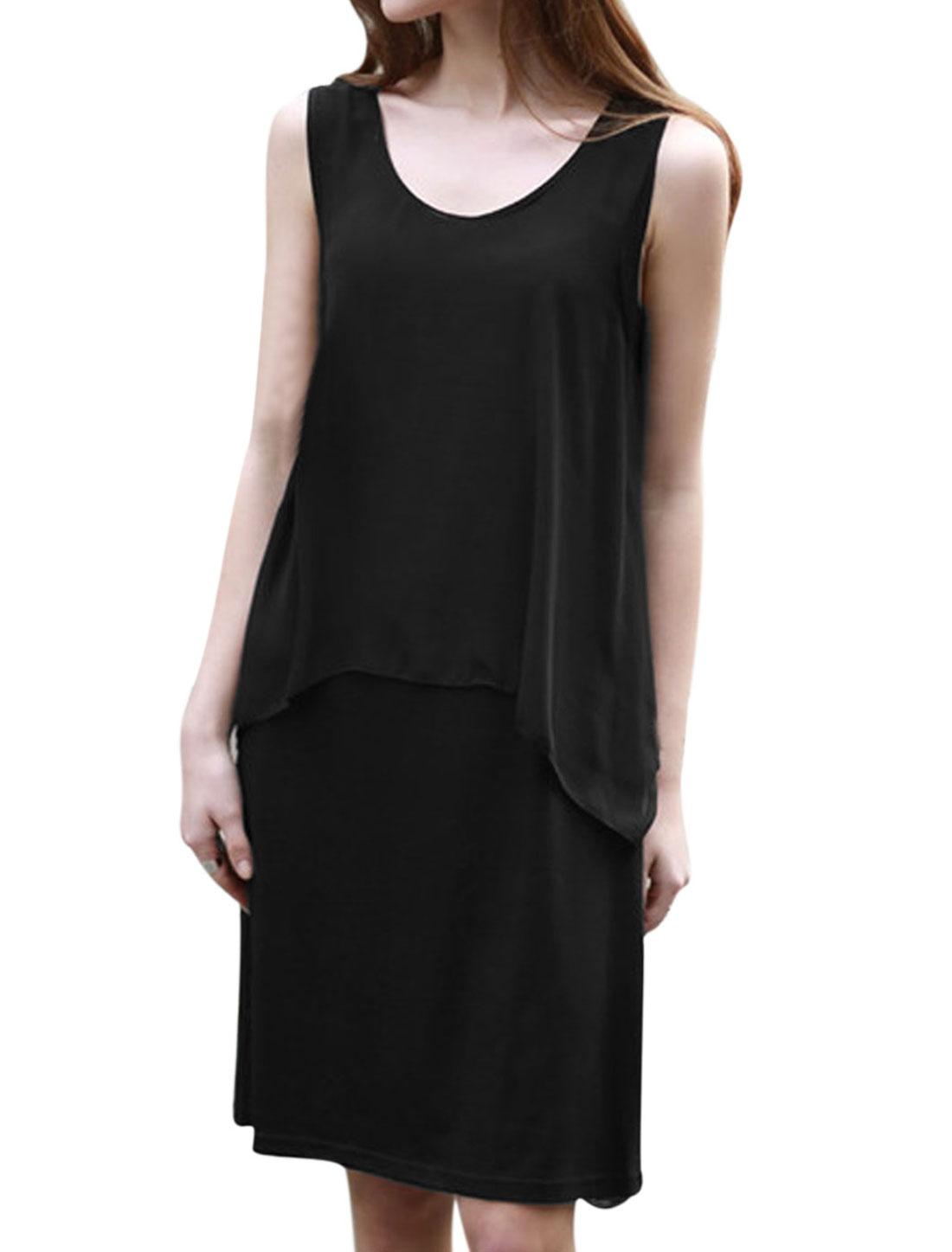 Women Chiffon Panel Scoop Neck Layered Tank Dress Black M