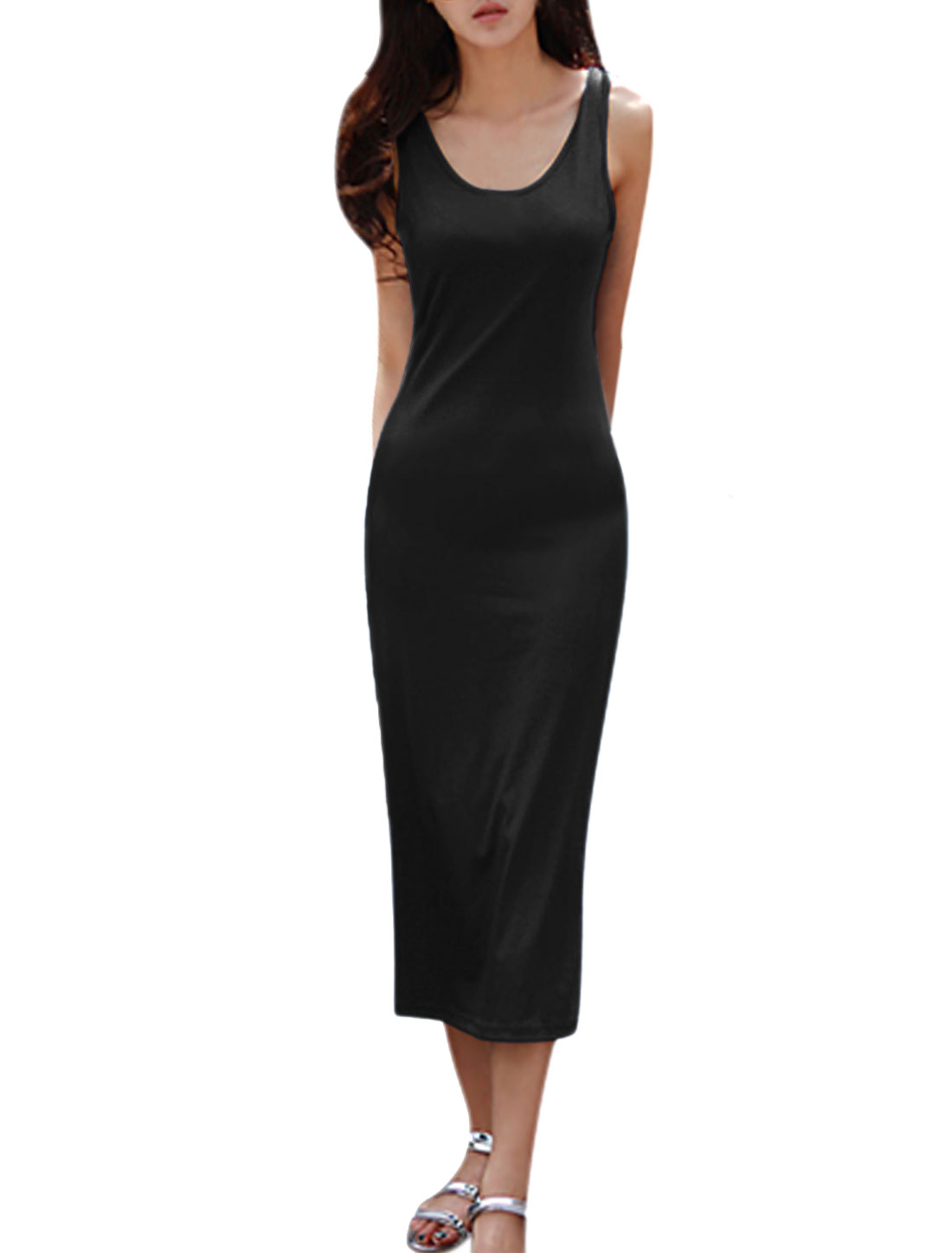 Women Sleeveless Scoop Neck Unlined Slim Fit Midi Dress Black M