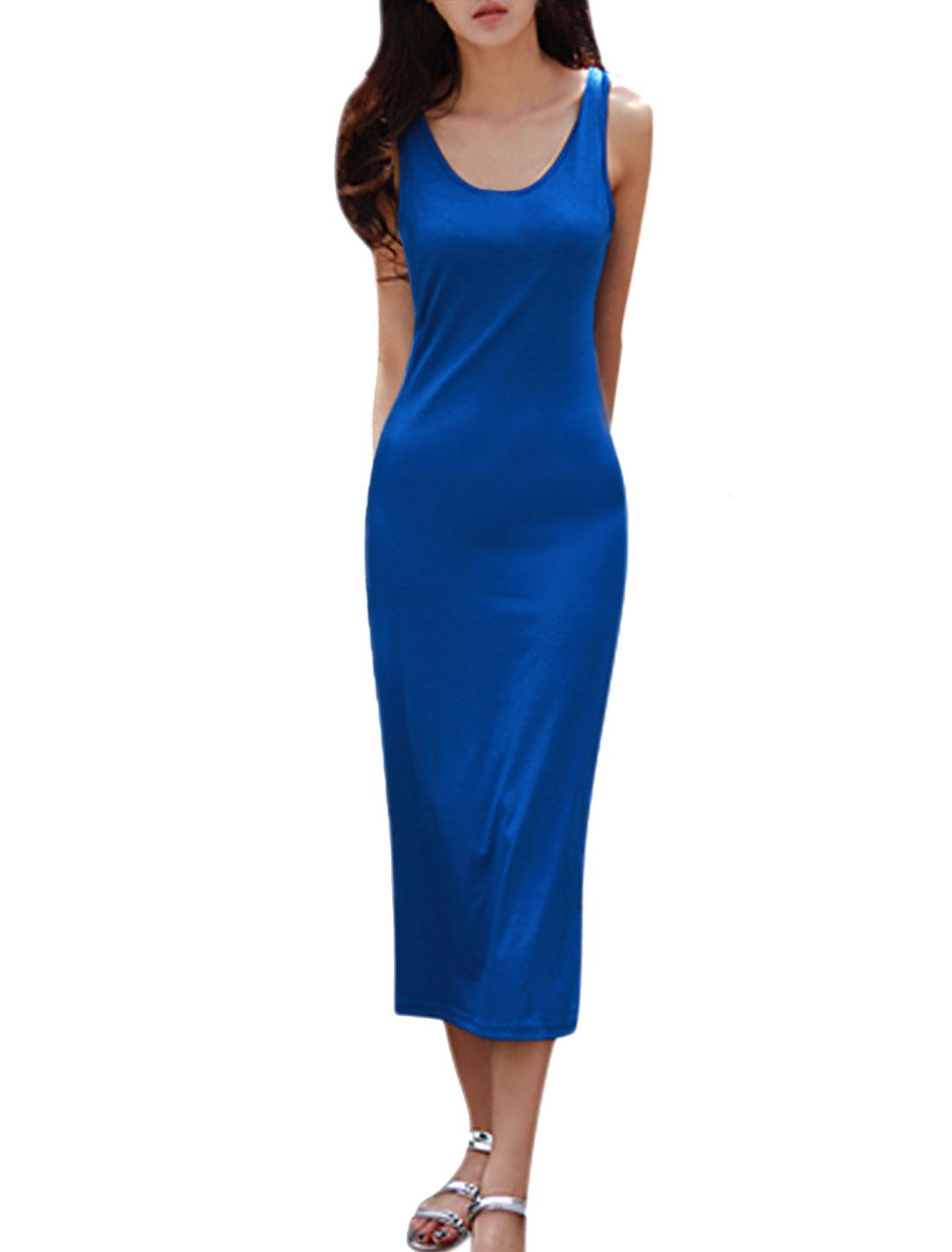 Ladies Sleeveless Scoop Neck Unlined Slim Fit Long Dress Royal Blue M