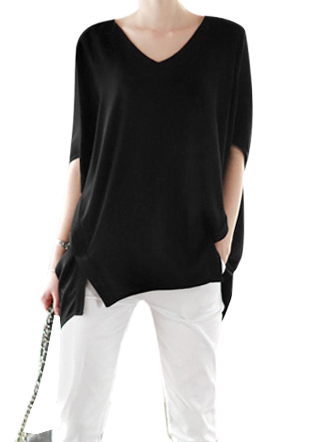 Woman V Neck Short Batwing Sleeves Split Hem Chiffon Tunic Top Black S