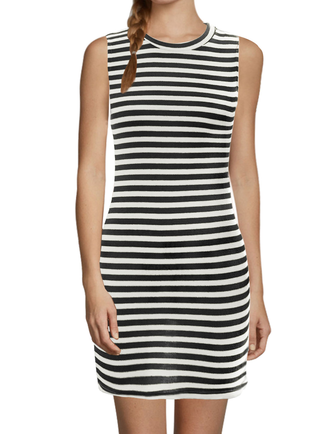 Women Stripes Crew Neck Sleeveless Slipover Bodycon Dress Black White M