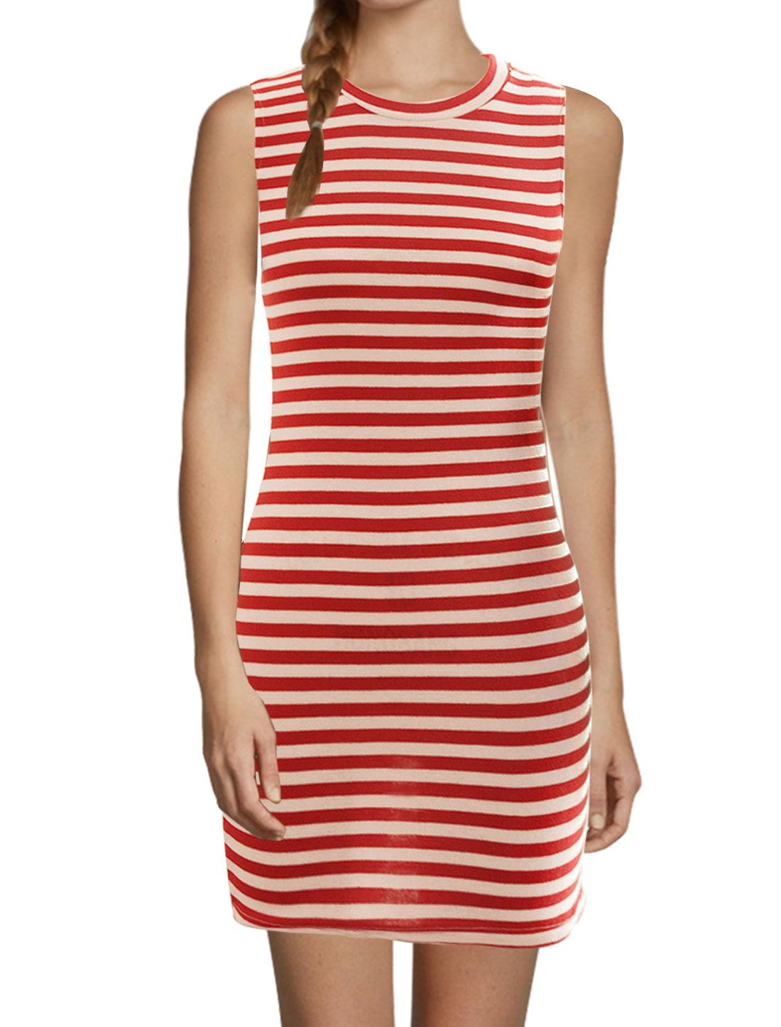 Women Stripes Crew Neck Sleeveless Unlined Bodycon Dress Red White M