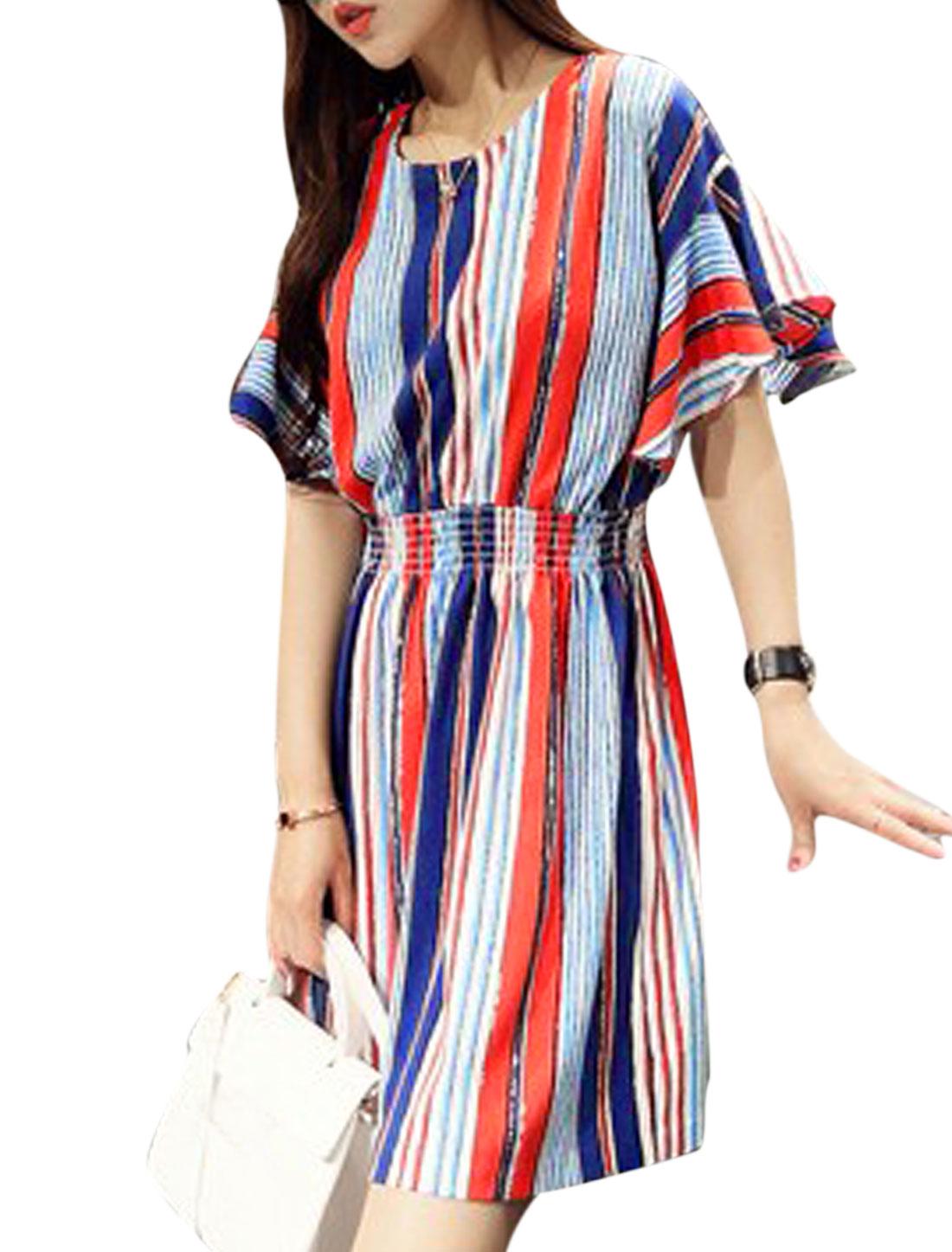 Women Vertical Stripes Smocked Waist Round Neck A Line Dress Red Blue S