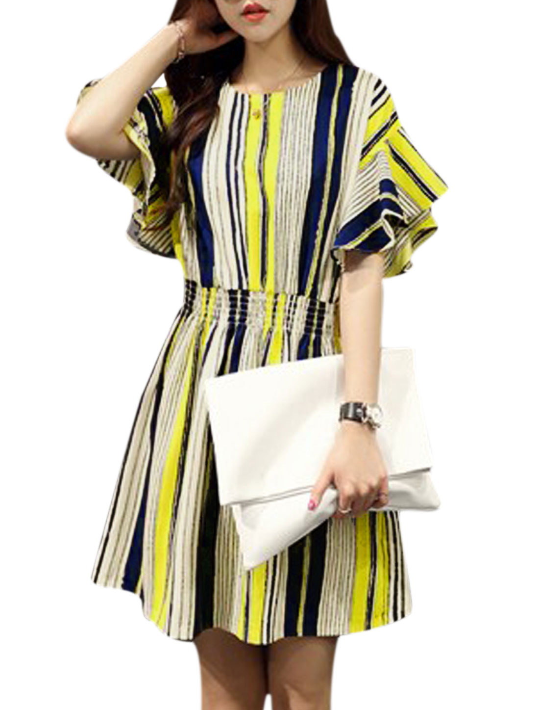 Women Vertical Stripes Smocked Waist Unlined A Line Dress Yellow Navy Blue S