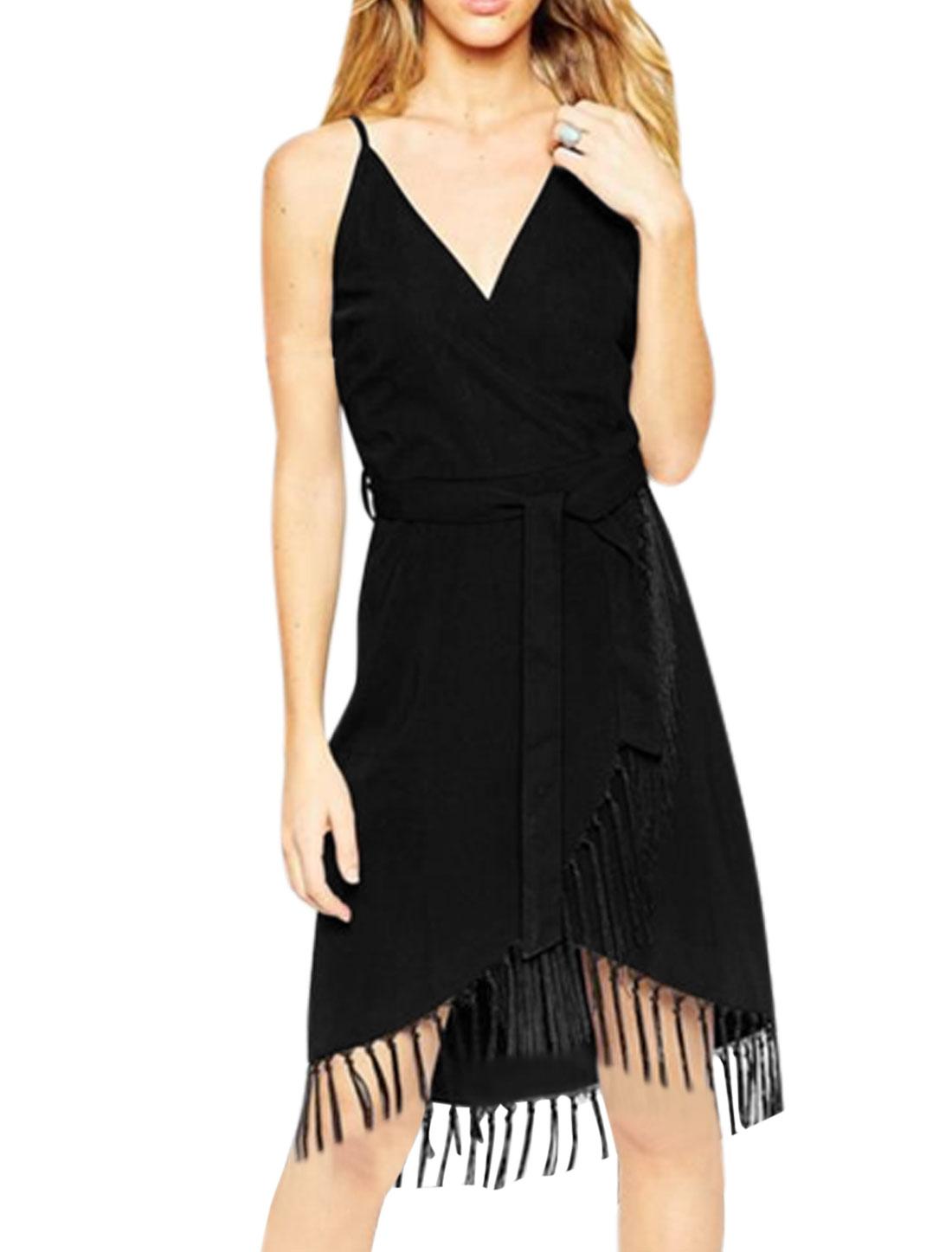 Women Crossover V Neck Spaghetti Strap Tassels Trim Casual Dresses Black M