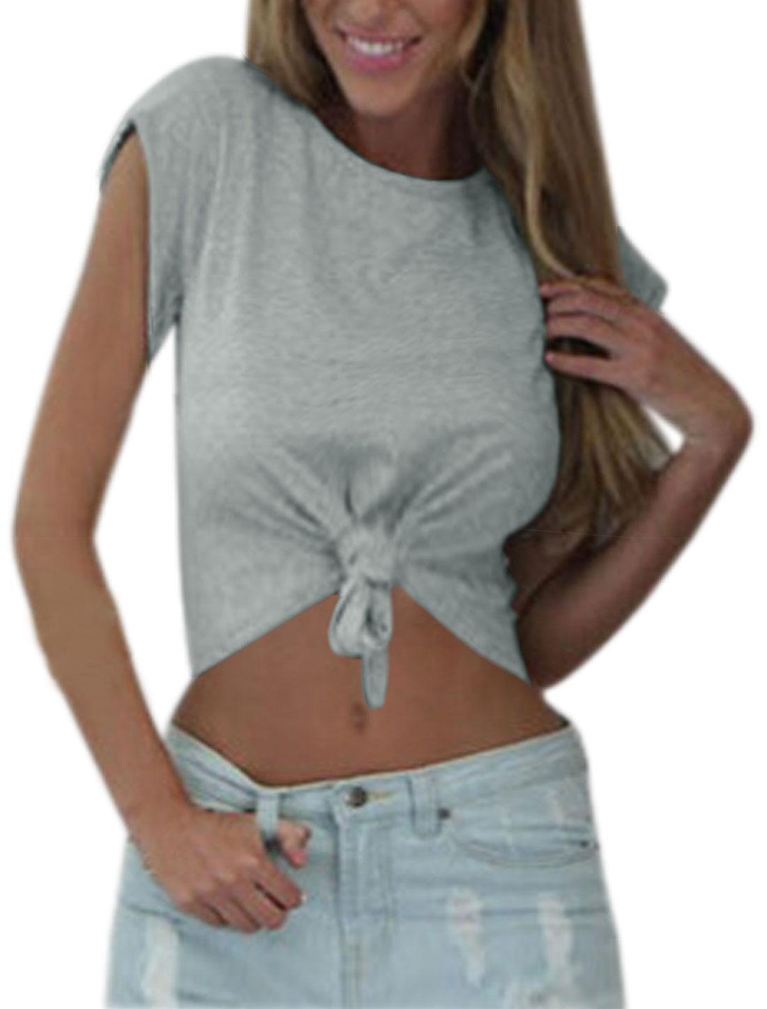 Woman Self Tie Front Cap Sleeves Casual Crop Top Light Gray M